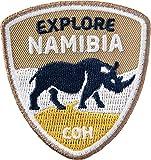 Club-of-Heroes 2 x Namibia Abzeichen 55 x 60 mm/Entdecke Namibia, Afrika Trekking Reise Safari Nashorn Wildlfe National Park/Aufnäher Aufbügler Flicken Sticker Patch/Reiseführer Karte Buch Planet