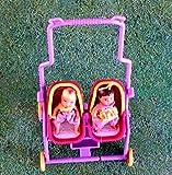 Puppen - Kinderwagen - Zwillingskinderwagen - mit Kindern - rose` - H 23 x B 12 cm
