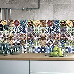 X-Labor 25 stück Abwaschbar Fliesenfolie Klebefolie Fliesenaufkleber Wandfliesen 20x20 cm Fliesensticker für Küche Wohnzimmer Bad Dekoration Mandala Muster-D