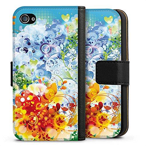 Apple iPhone X Silikon Hülle Case Schutzhülle Floral Muster Ranken Sideflip Tasche schwarz