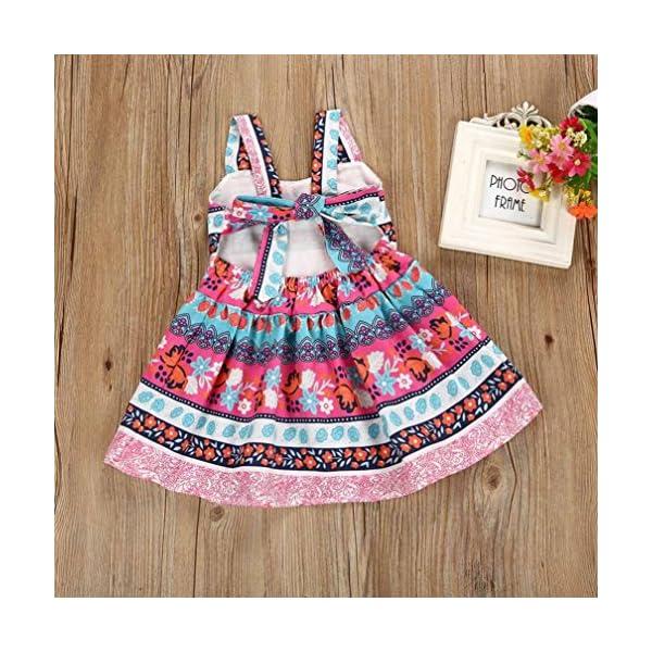 K-youth Vestido Ni/ña Verano Bohemia Bowknot Chicas Retro Floral Imprimir Vestido Vestimenta Sin Mangas Vestidos para Ni/ñas Casual Princesa Vestir