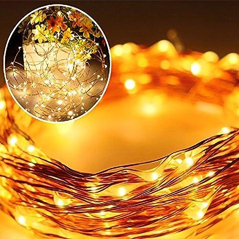 Solar Kupferdraht Lichterkette warmweiß 100er LED 10Meter, Wasserdichte Solar außen