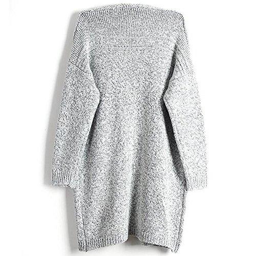 BOZEVON Femme Tricot Manches Longues Cardigan Casual Coat Cardigan Veste Lady Gris