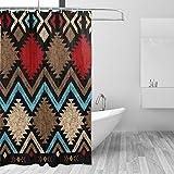 JSTEL Cortina de ducha vintage africana resistente al moho y resistente al agua, tejido de poliéster, 182,88 x 182,88 cm, para el hogar, extra larga, para baño, decorativa, cortinas de ducha, con 12 ganchos