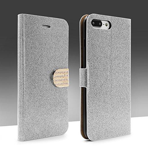 URCOVER Coque Portefeuille Housse Pochette Glittery Diamant pour Apple iPhone 7 Plus | Wallet Case Étui a Rabat avec Strass Scintillantes et Pailletté en Noir Argent