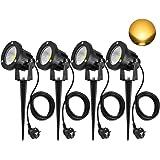 SanGlory 4 Stück 7W LED Gartenstrahler IP65 Wasserdicht, LED Strahler mit Erdspieß für Beleuchtung Garten, Terrasse, Pflanzen LED Gartenleuchte Warmweiß 3000K, 2,0 m Kabel mit Stecker