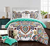 Chic Home 6 Piece Raypur Reversible Boho-inspired print and contemporary geometric patterned technique Twin Bed In a Bag Comforter Set Aqua