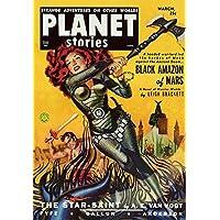Vintage Sci Fi Planet Stories Black Amazon Mars Fine Art Print (60.96 x 91.44 cm)