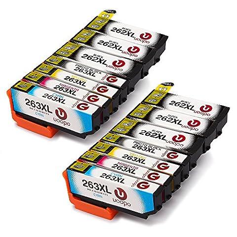 Uoopo Compatible Remplacer pour Epson 26XL(T2621 T2631 T2632 T2633 T2634) Cartouches d'Encre Grande Capacité pour ImprimanteEpson Expression Premium XP-610 XP-620 XP-625 XP-700 XP-520 XP-720 XP-510 XP-600 XP-605 XP-615 XP-710, Pack de 14(6 noirs 2 Photo noirs 2 cyan 2magenta, 2jaunes)