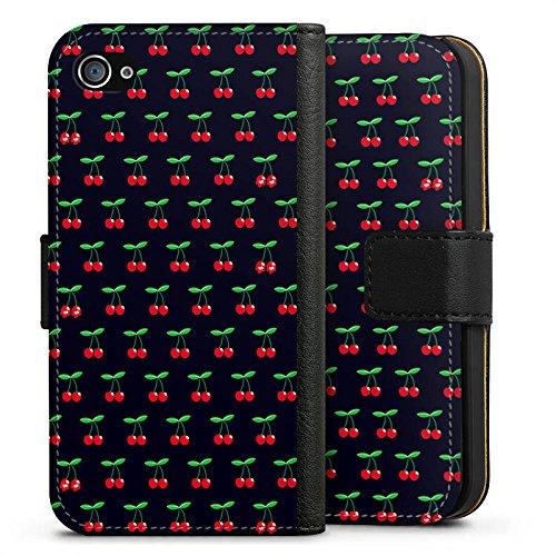 Apple iPhone X Silikon Hülle Case Schutzhülle Cherry Kirschen Pattern Sideflip Tasche schwarz