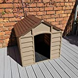 Plastic Dog Kennel Pet Shelter Plastic Durable Outdoor - Color Brown