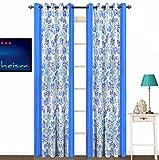 Fabutex Beautiful Floral Design Blue Pol...