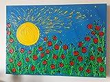 DORON ARTE - DISKONTE AUF ALLEN BILDERN - 100% HANDGEMACHT GEMALTEN - HANDGEMALTEN RAHMEN (GALERIE FRAME 4 cm) MODERNE GEMÄLDE - Mohnblumen Blumen blauer Hintergrund - 50x70x4 cm- RIF48