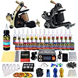 Solong Tattoo Complete Tattoo Kit with 2 Pro Machine Guns, 28 Inks, Power Supply Foot Pedal, Needles Grips Tips (TK222)