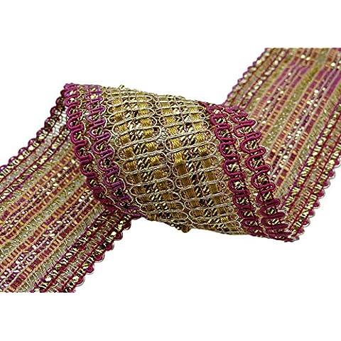 Nupcial india Sari ajuste del cordón trenzado Border costura metálica Crafting 4 yardas