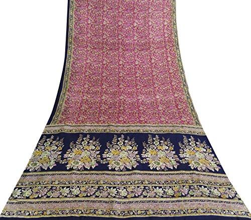 Indian Jahrgang reine Seide Rosa Blumenmuster Saree Ethnische Craft Fabric 5 Yds (Seide Sari Rosa)