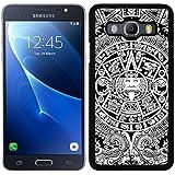 Funda carcasa para Samsung Galaxy J7 2016 diseño calendario azteca maya borde negro