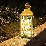 iBaste Weihnachtslaterne Hängende Laternen für draußen Flamme Lampe Licht Vintage Laterne Gartendeko Licht für Balkon Weihnachten 13.5cmx13.5cmx34cm