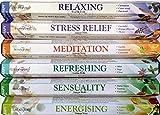 Stamford 120varillas de incienso de Stamford Premium, para aromaterapia, incluye los inciensos: refrescante, anti estrés, meditación, relajante, sensual y energizante, ideal para regalo