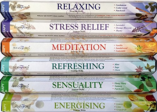 120-Sticks-of-Stamford-Premium-Aromatherapy-Hex-Range-Incense-Sticks-Relaxing-Stress-Relief-Meditation-Refreshing-Sensuality-Energising-Incense-gift-pack