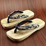 XIAMUO In stile giapponese zoccoli in legno maschio e femmina in legno amanti pantofole estate maschio antiscivolo scarpe di legno flip-flop, 27 cm 43-44 metri, marrone testa quadrata