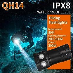 huichang Lampe de poche plongée sous l'eau, Super clair 80m étanche lampe led plongée pour vidéo, QH14, 122mm x65 mm x55mm