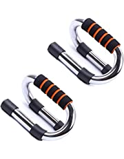 GOCART WITH G LOGO Push-up Bars - Strong Chrome Steel Pushup Stands with Comfortable Foam Grip and Non-Slip Bars - Safe, Sturdy and Less Wrist Strain