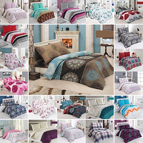 BUYMAX Bettwäsche Bettgarnitur mit Reißverschluss 3 Größen und vielen Farben Öko-Tex (200x220 cm, Design 12) (12 X 12-design)