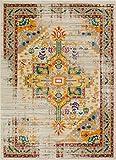 Well Woven Vintage Heriz Blumen Medaillon Traditionellen Multi Farbe Beige Fuchsia Orange Gelb Bereich Teppich, Polyester, Multi, 3'11