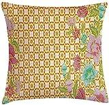 MAMAARE Fodera per cuscino per cuscino batik decor, forma tradizionale batik malese foglie di fiori design giavanese stile Zen, federa decorativa quadrata con accento,