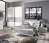 3-tlg. Schlafzimmer in alpinweiß/Abs. Vintage grau , Nachttisch B: 55 cm, Bett B: 147 cm, Liegefläche 140x200 cm, Schwebetürenschrank B: 136 cm