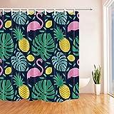 GoHEBE Ananas Decor Tropical Fruit Pflanzen Swan Bad Vorhang Polyester-180,3x 180,3cm Schimmelresistent-Dusche Vorhänge Fantastische Dekorationen