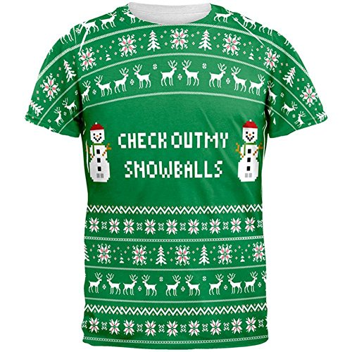 Weihnachten-Check Out meine Schneebälle hässliche Pullover aller Erwachsenen T-Shirt White