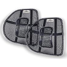 Donnerberg ORIGINAL Respaldo Lumbar Ergonómico para sillas de oficina asientos de coche - postura correcta - Cojín Lumbar - Apoyo espalda fresco relax de malla (Juego de 2)