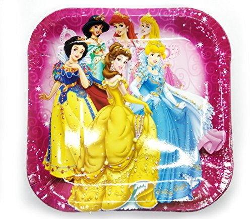 Ziggle Birthday Lunch Dinner Plates Disney princess theme spoon cups cutlery set for Birthday party (30 pcs)