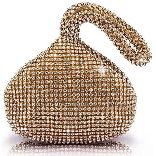 a1d688563e58d ERGEOB Damen Clutch Kreatives Design Diamant Aluminium Handtasche  Abendtasche Dreiflächner Partytasche Kristall Golden