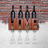 TOOARTS Portabottiglie da parete, Supporto a parete in vetro con supporto per contenitore di stoccaggio in sughero con 5 zaini porta vino in vetro portaoggetti