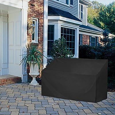 Dokon 2/3 Seat Garden Bench Cover (134x66x63/89cm) (163x66x63/89cm) - Black