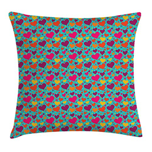 Hearts Throw Pillow Cushion Cover, Cute Colorful Graphic Hearts with Raindrop Shapes Placed Irregularly on Blue Color, Decorative Square Accent Pillow Case, 18 X 18 inches, Multicolor