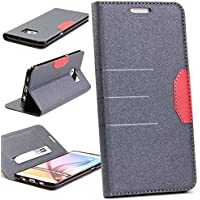 Custodia Galaxy S6 Edge Plus, Urcover Wallet Case, porta tessera, chiusura magnetica, ultra slim, vintage Cover libro Samsung Galaxy S6 Edge Plus in Nero