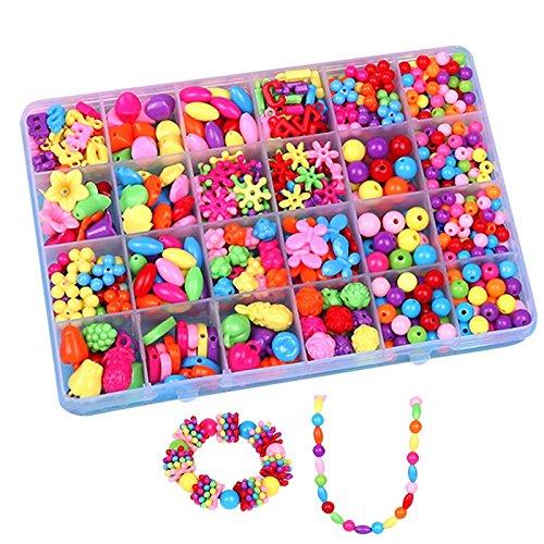 BJ-SHOP Kette Basteln Kinder,Kinder DIY Set Bunte Armband Perlen Kunststoff kultivieren Farbe empfindlich für Schmuck Halskette Machen und für Kinder Mädchen Geschenk - Empfindliche Kinder