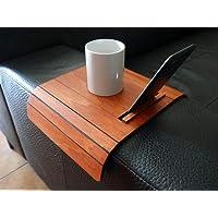 Mini tavolino laterale da bracciolo divano in legno con supporto smartphone e tablet personalizzabile ciliegio Piccolo…