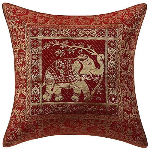 Stylo Cojín Decorativo de algodón de algodón Cojín de diseño Brocado 16x16 Cojín de Elefante marrón de cojín