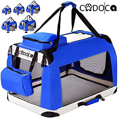 CADOCA Portable Folding Transport Box Dogs Cats Pets Travel Blue Crate Basket Cage Different Sizes XS - XL