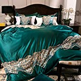 Bedding Collections Four-piece european cotton thickened lace embroidery pure cotton four piece set 1.5m 1.8m 2.0m double quilt cover sheet-A 220x240cm(87x94inch)
