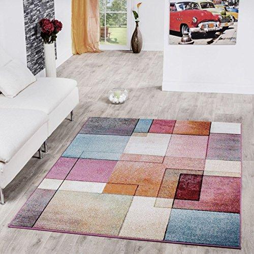 T&T Design Alfombra De Cuadros Multicolor De Pelo Corto Modelo De Diseño...
