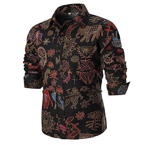 Hemd Sannysis Herren Slim Fit Bedrucktes Hemden Freizeit Businesshemd Persönlichkeit Lässige Print Langarm Shirt Anzug Top -