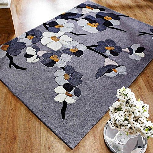 Hand Geschnitzt, Modernes Design (Modernes Infinite Blossom Hand geschnitzt Floral Design Teppich, grau/Ocker-80x 150cm)
