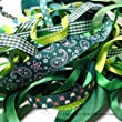 Ribbon off cut bundle - Green shade - contains 10 different 1 metre ribbons -