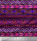 Soimoi Schwarz Seide Stoff aztekisch geometrisch Dekor